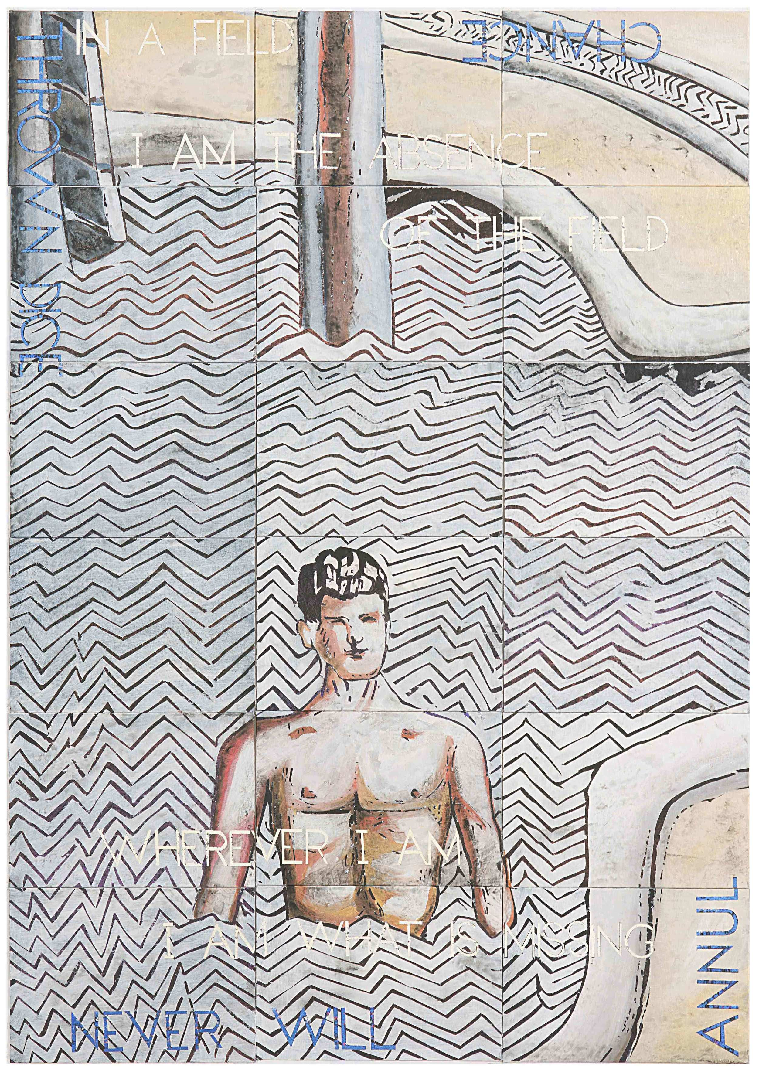 IMANTS TILLERS   The Mysterious Bathers II  2015 Synthetic polymer paint, gouache on 18 canvasboards, nos. 93575 - 93592 152.4 x 106.7 cm