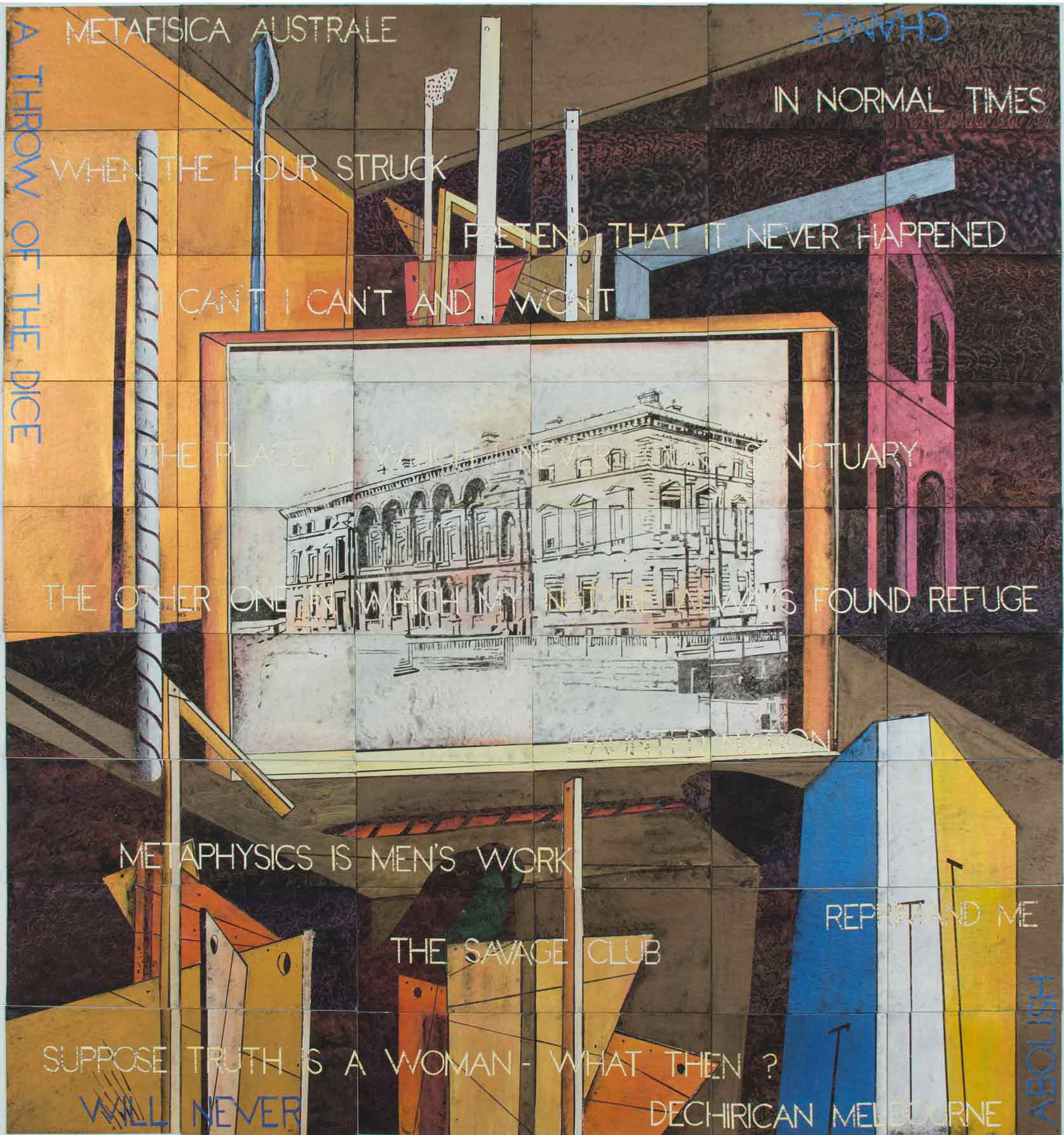 IMANTS TILLERS   Metaphysical Interior with Old Treasury Building  2016 Synthetic polymer paint, gouache on 54 canvas boards, nos. 98698 - 98751 228.6 x 213.4 cm