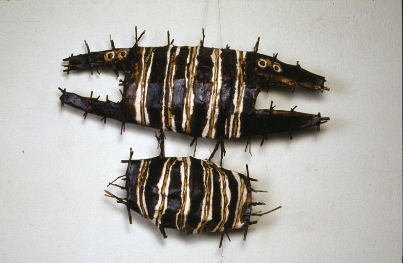 150 Fish  (detail), 1994-1998, eucalyptus twigs, cotton thread, calico, paper, bituminous paint, dimensions variable