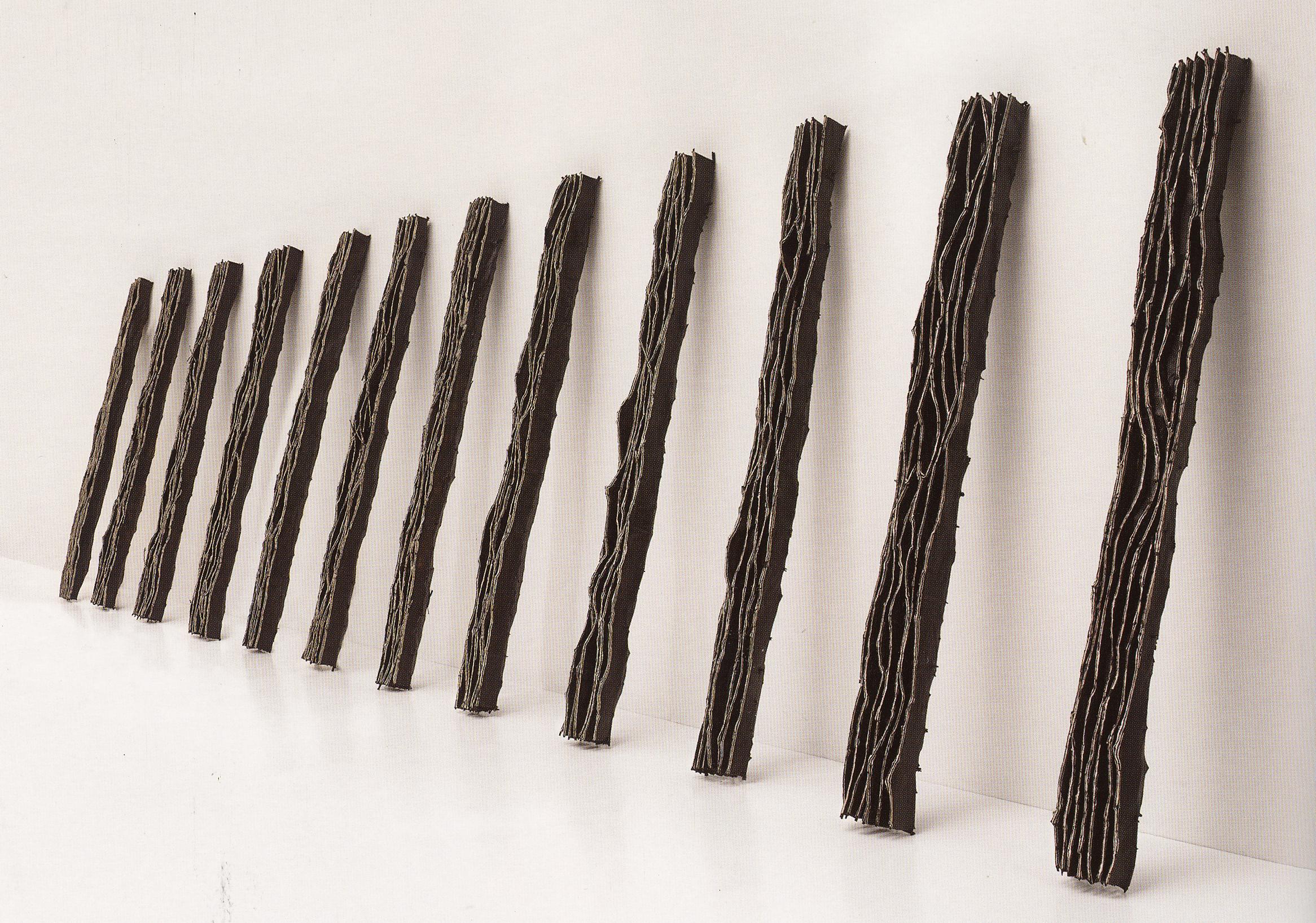 River, 1998,Twigs, Calico, Bituminous Paint, Cotton Thread,300 x 30-70 x 23 cm
