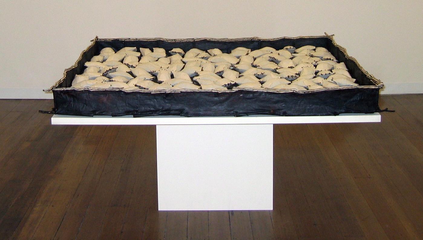 Time Passes ,1998,Twigs, Calico, Bituminous Paint, Cotton Thread,165 x 165 cm