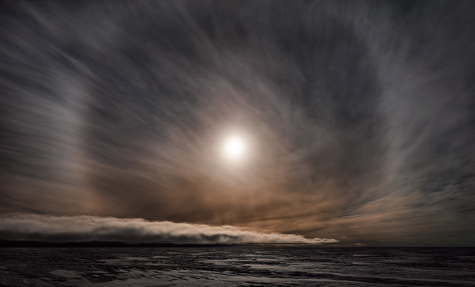 Icesheet #2564, late sun with 22˚ halo,  2013, digital pigment print, 120 x 198cm.