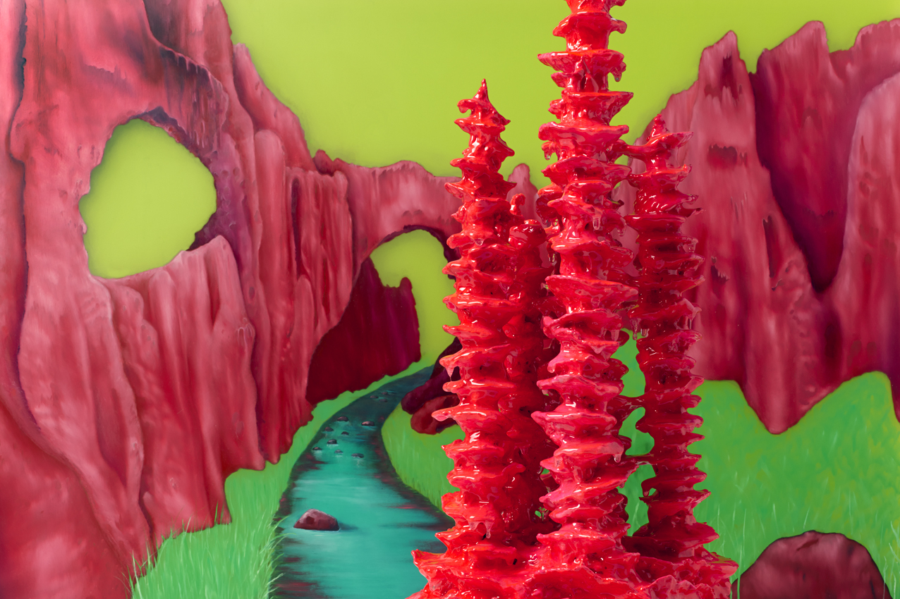 The Crimson Arch and Stalagmite , 2013, Oil paint on perspex, 56 x 83 cm.