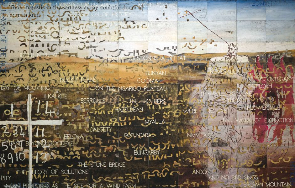 Imants Tillers,  Once upon a time , 2009, synthetic polymer paint, gouache on 90 canvas boards, 229 x 356 cm.