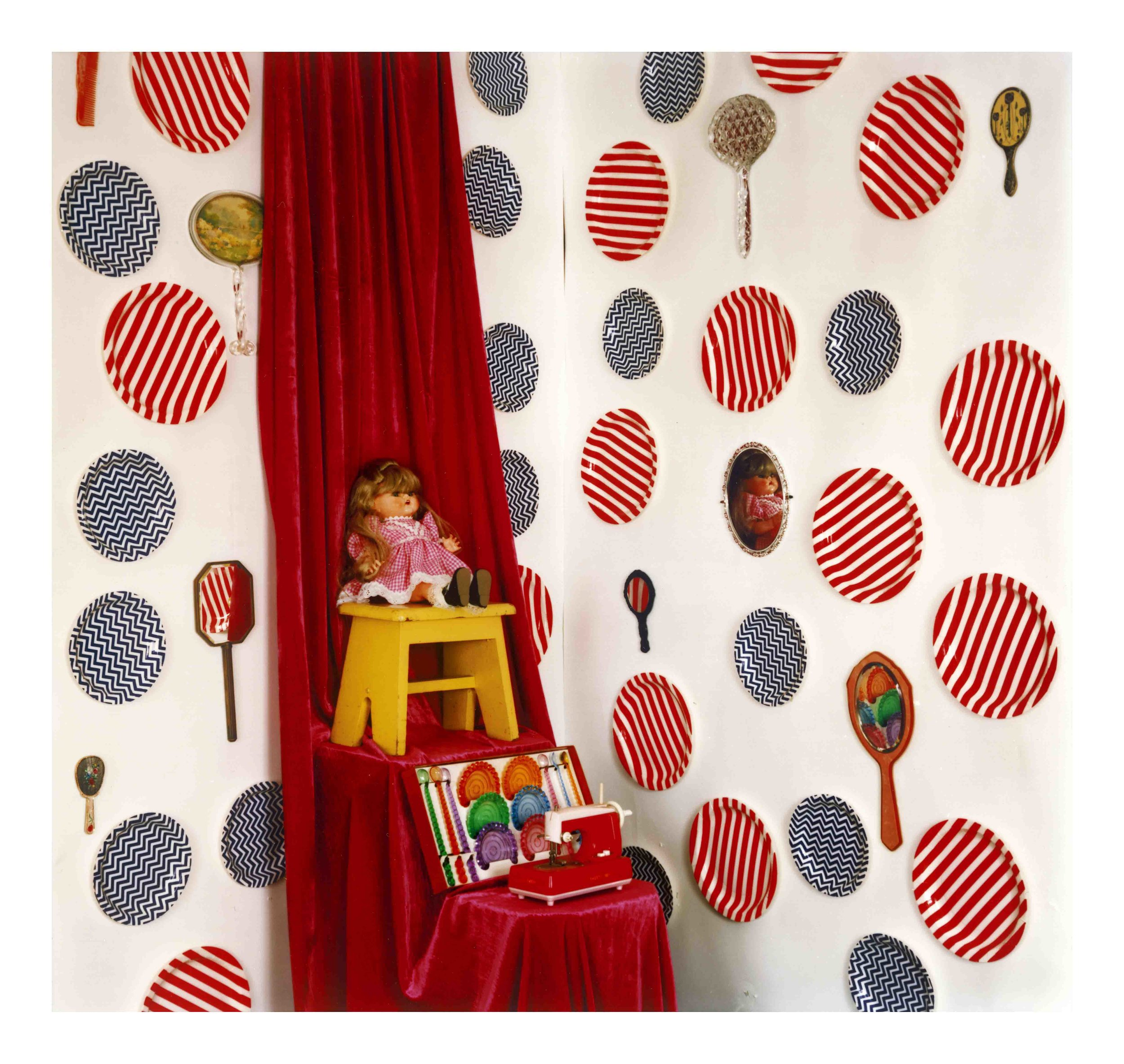 ©Jacky Redgate, Unfold - mirrors, doll, coaster and spoon set, child's sewing machine, 2016 .jpg