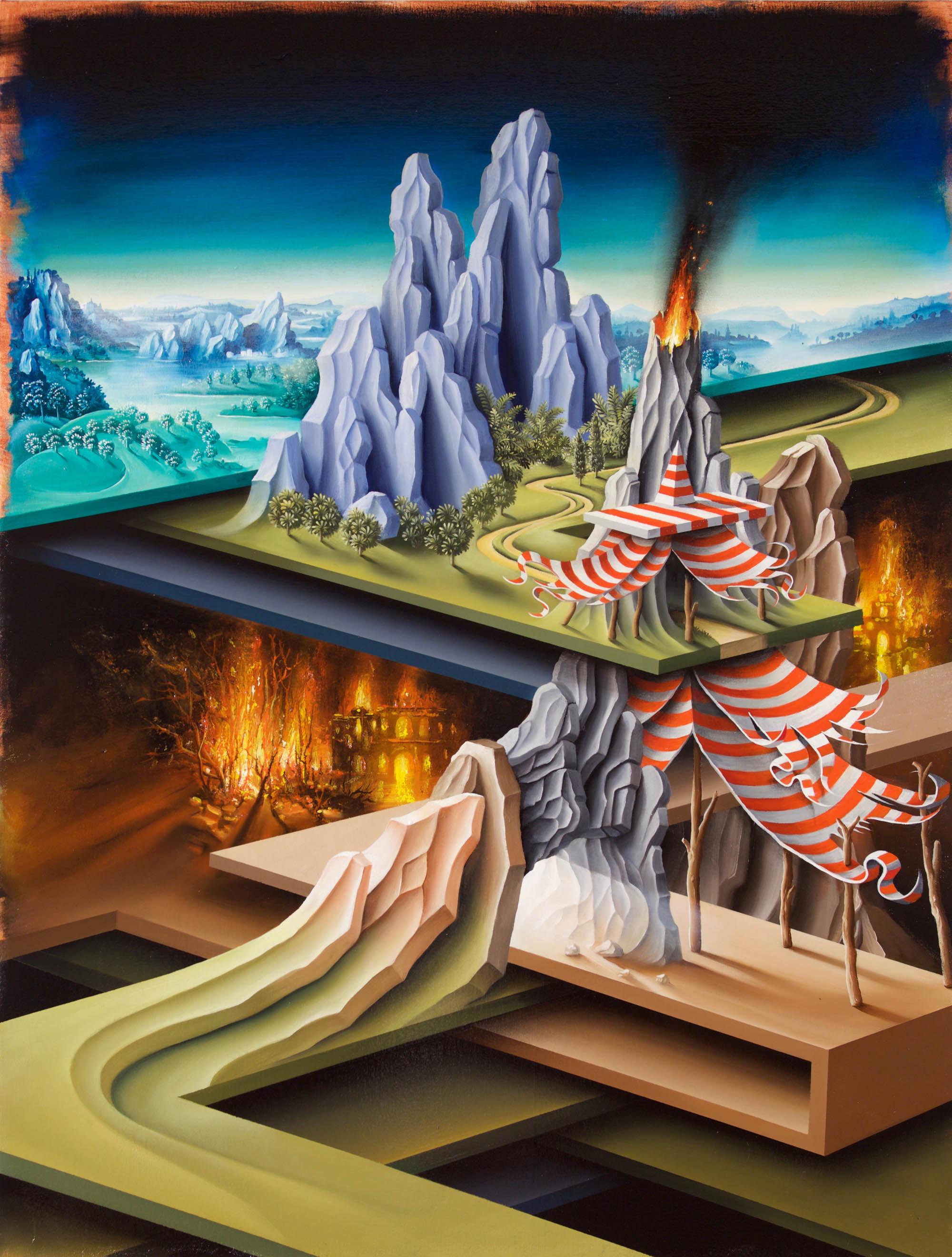 PETER DAVERINGTON   Jacob's Tent on his descent to the underworld  2016 Oil on linen 122 x 92 cm