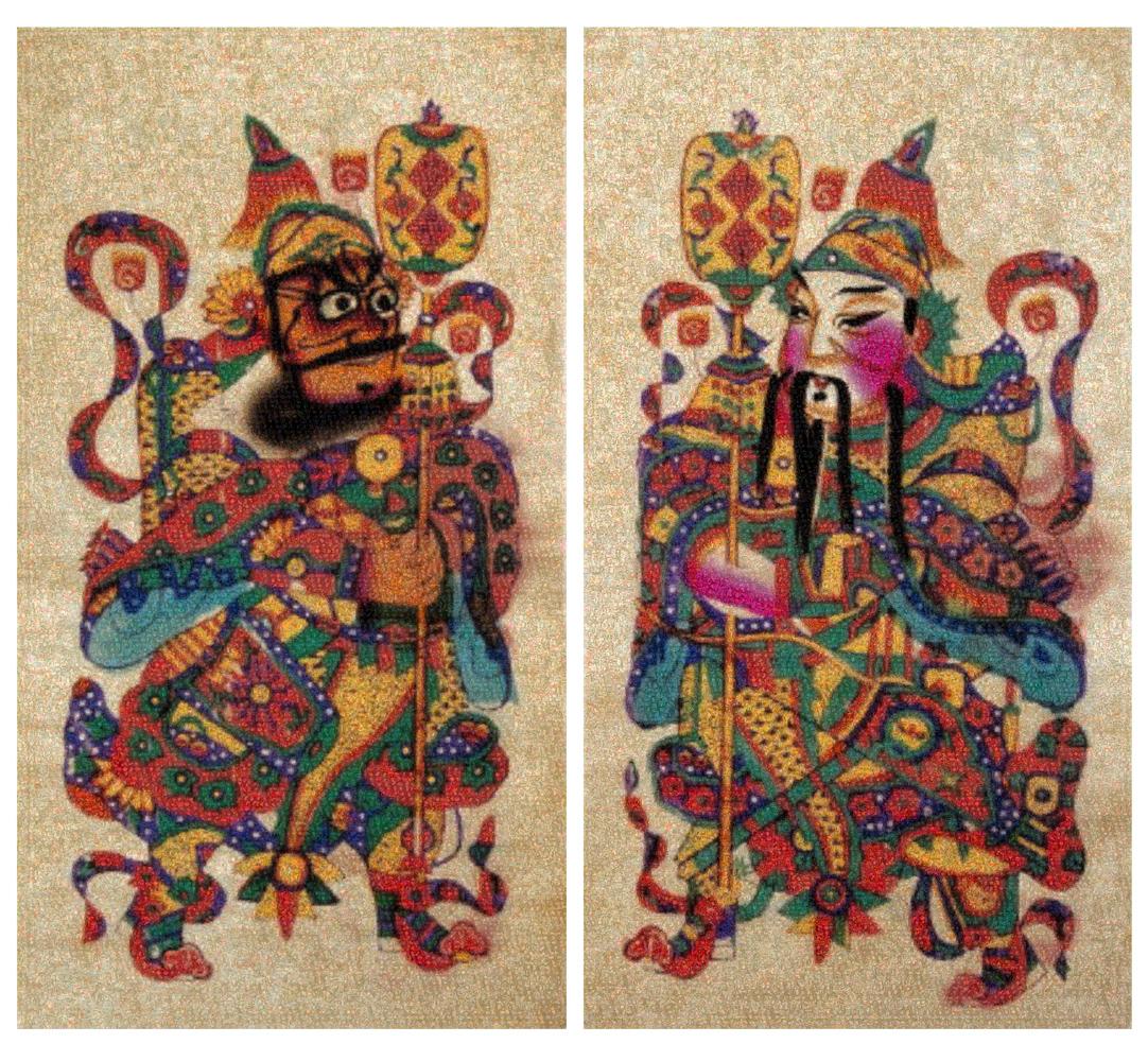 GUO JIAN   The Door gods No.1  2016 Inkjet pigment print (2 panels) 200 cm x 200 cm