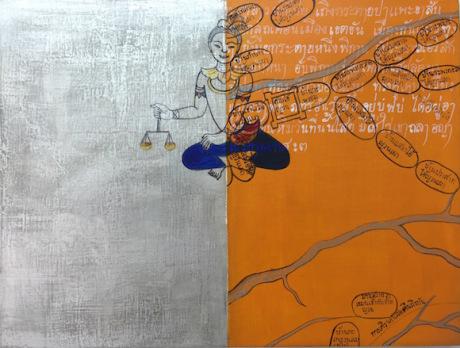 Phaptawan Suwannakudt,  Reincarnation of the Butterflies 2 , 2016,acrylic, silver foil and ink on board, 30 x 40cm.