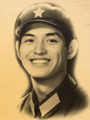Guo Jian,as a soldier in the People's Liberation Army in 1980 or 1981.