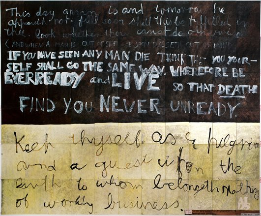 Imants Tillers,  Victory over death (for Paul Taylor), 1999, gouache, oil stick, synthetic polymer paint on 66 canvas boards, nos.31929 – 31994, 228.6 × 279.4cm