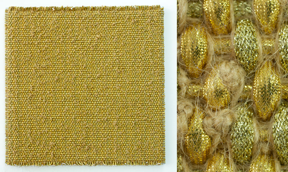 DANI MARTI   Fool's Play (Gold)  [full and detail view] 2017 polyester, polypropylene, metallic thread, sisal rope on aluminium frame 110 x 110 x 5 cm