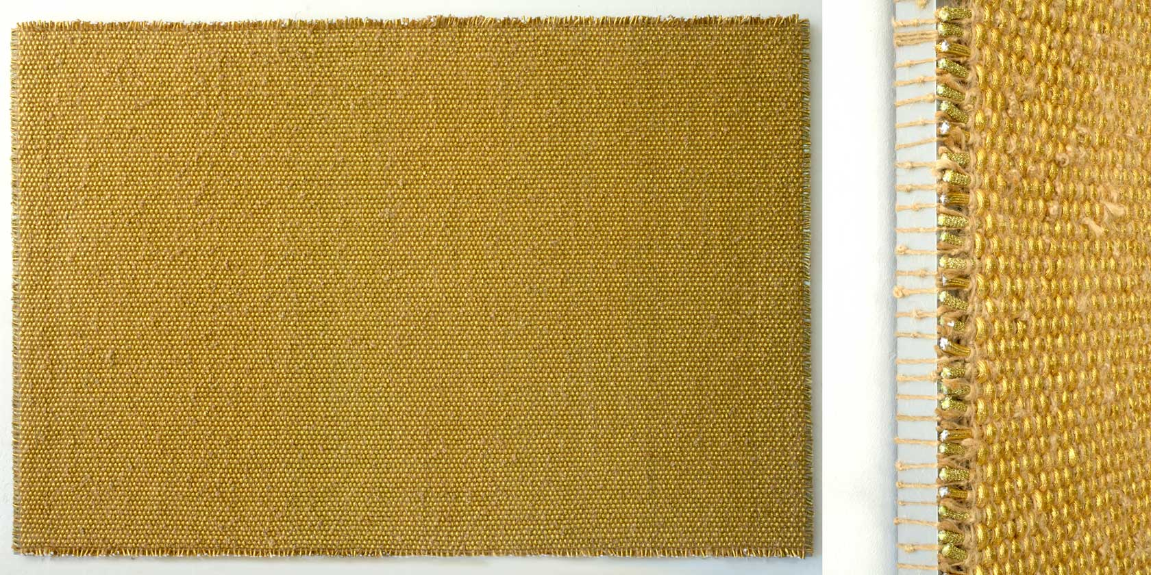 DANI MARTI   The Story of I Am (Gold)  [full and detail view] 2017 polyester, polypropylene, metallic thread, sisal rope on aluminium frame 170 x 255 x 5 cm