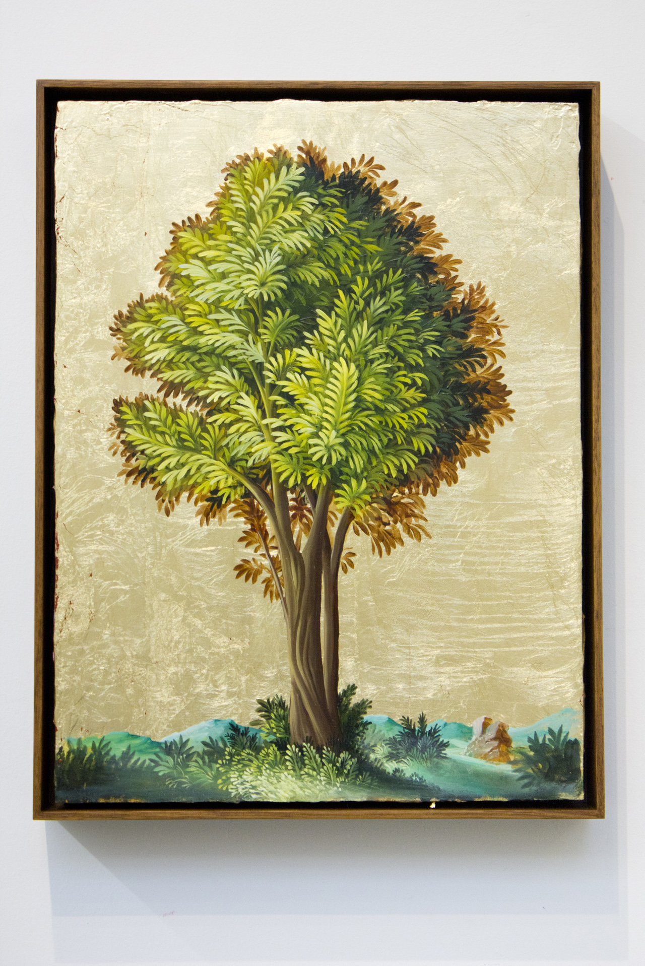 PETER DAVERINGTON   Portrait of a Tree #2  2017 Oil and gold leaf on panel 41 x 31 cm Frame: 43 x 33 cm