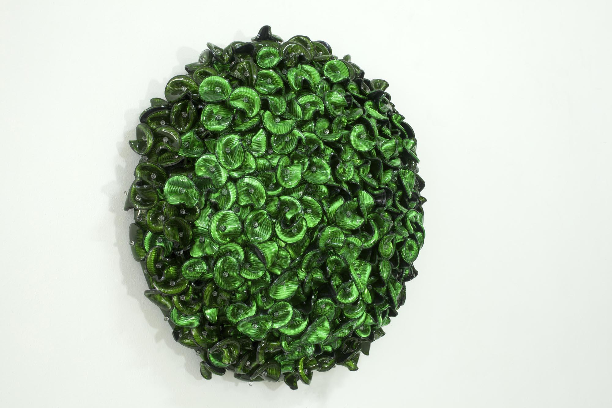 DANI MARTI   Pointless (Green)  2017 Customised corner cube reflectors, glass beads on aluminium frame 90 x 90 x 28 cm