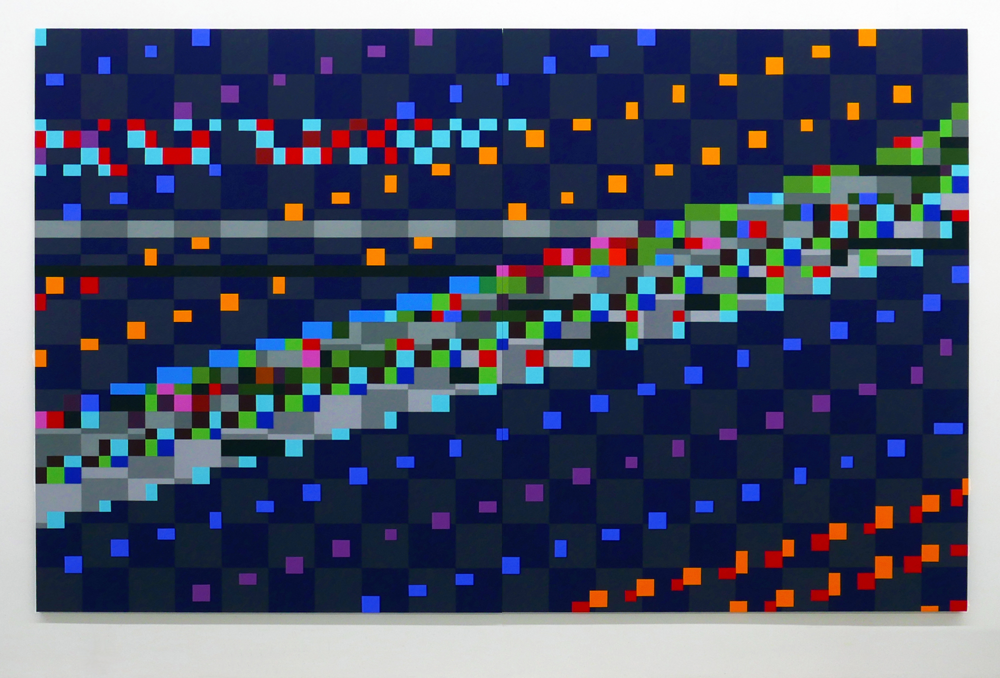ROBERT OWEN   Blue Note #2  2016 synthetic polymer paint on canvas (two panels) 200 x 320 cm