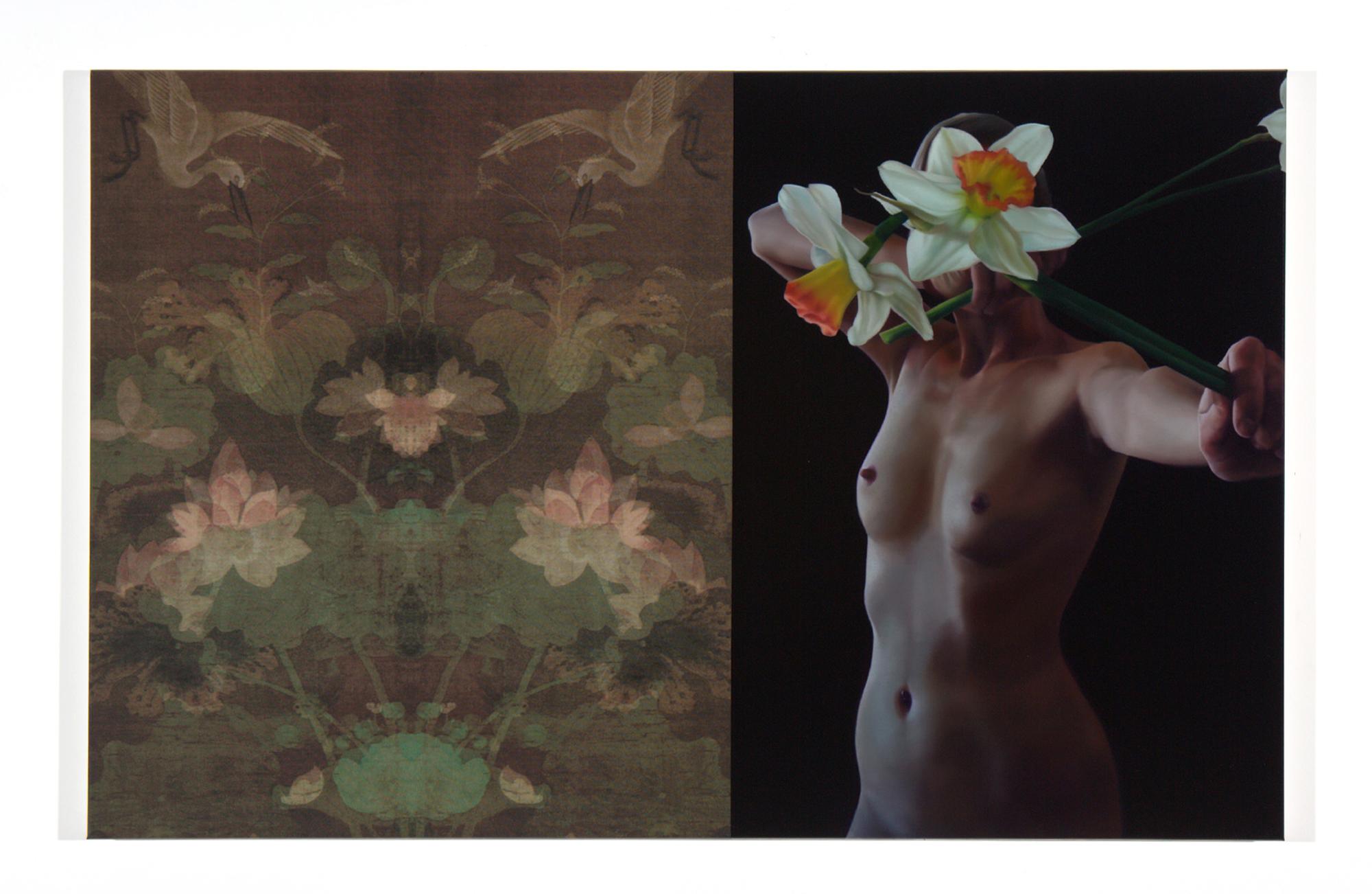 JOHN YOUNG   Figure Study L  2017 Digital print and oil on linen 89 x 138 cm