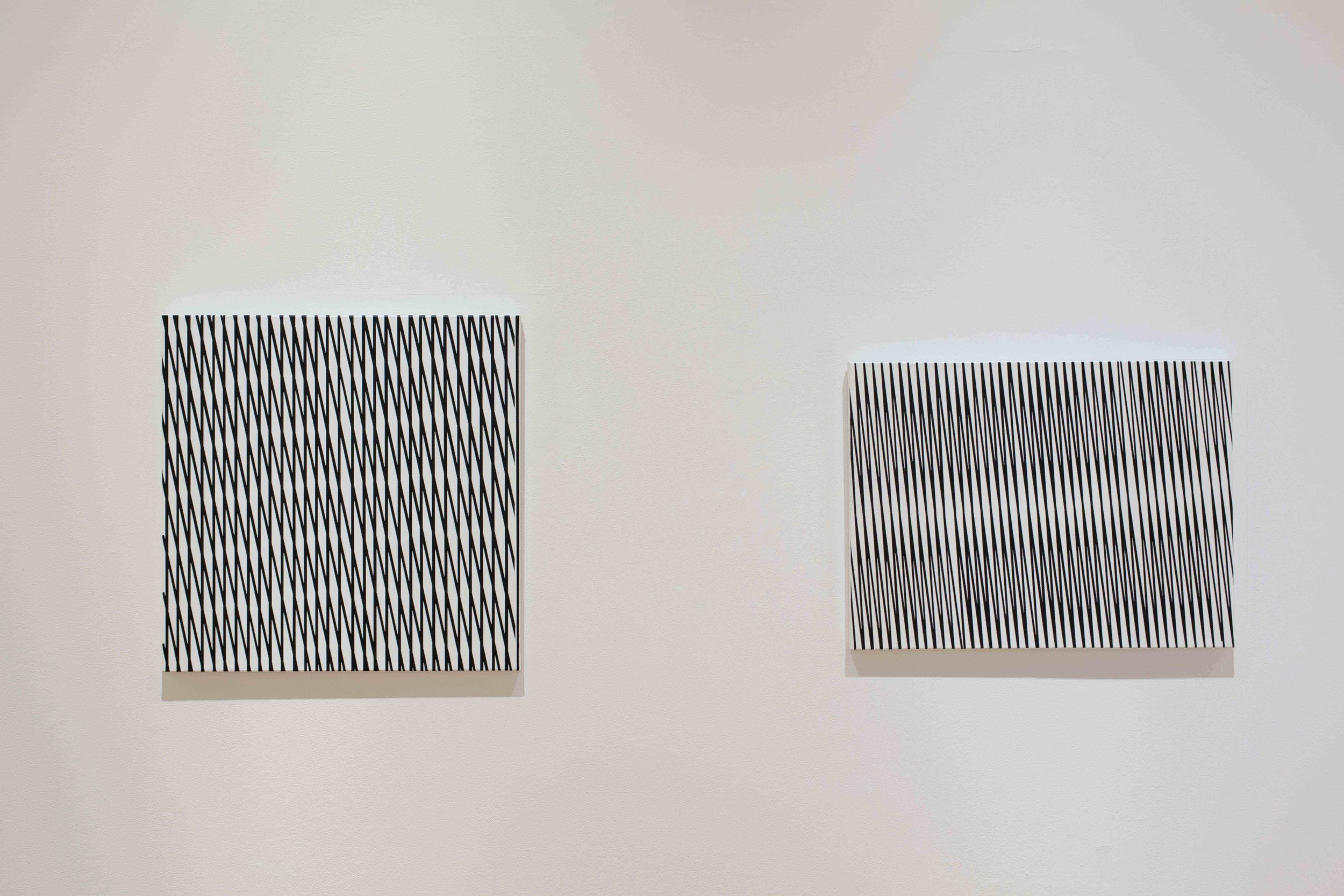 NIKE SAVVAS   Sliding weave (hold)  2012 acrylic on canvas 74 x 74 cm  Sliding weave (lawless)  2012 acrylic on canvas 60 x 80cm