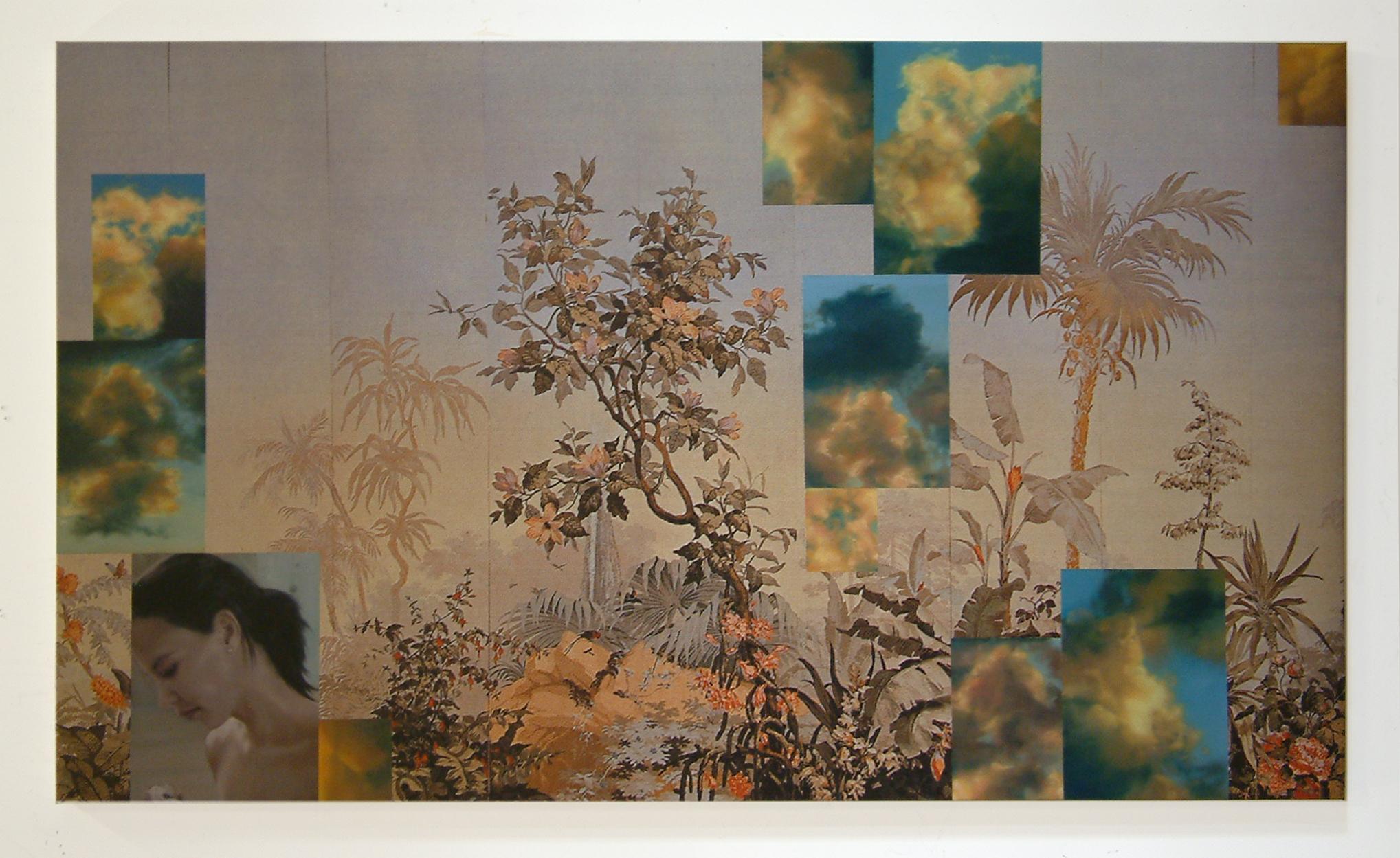 JOHN YOUNG   Eden II  2005 digital print and oil on linen 114 x 196.5 cm