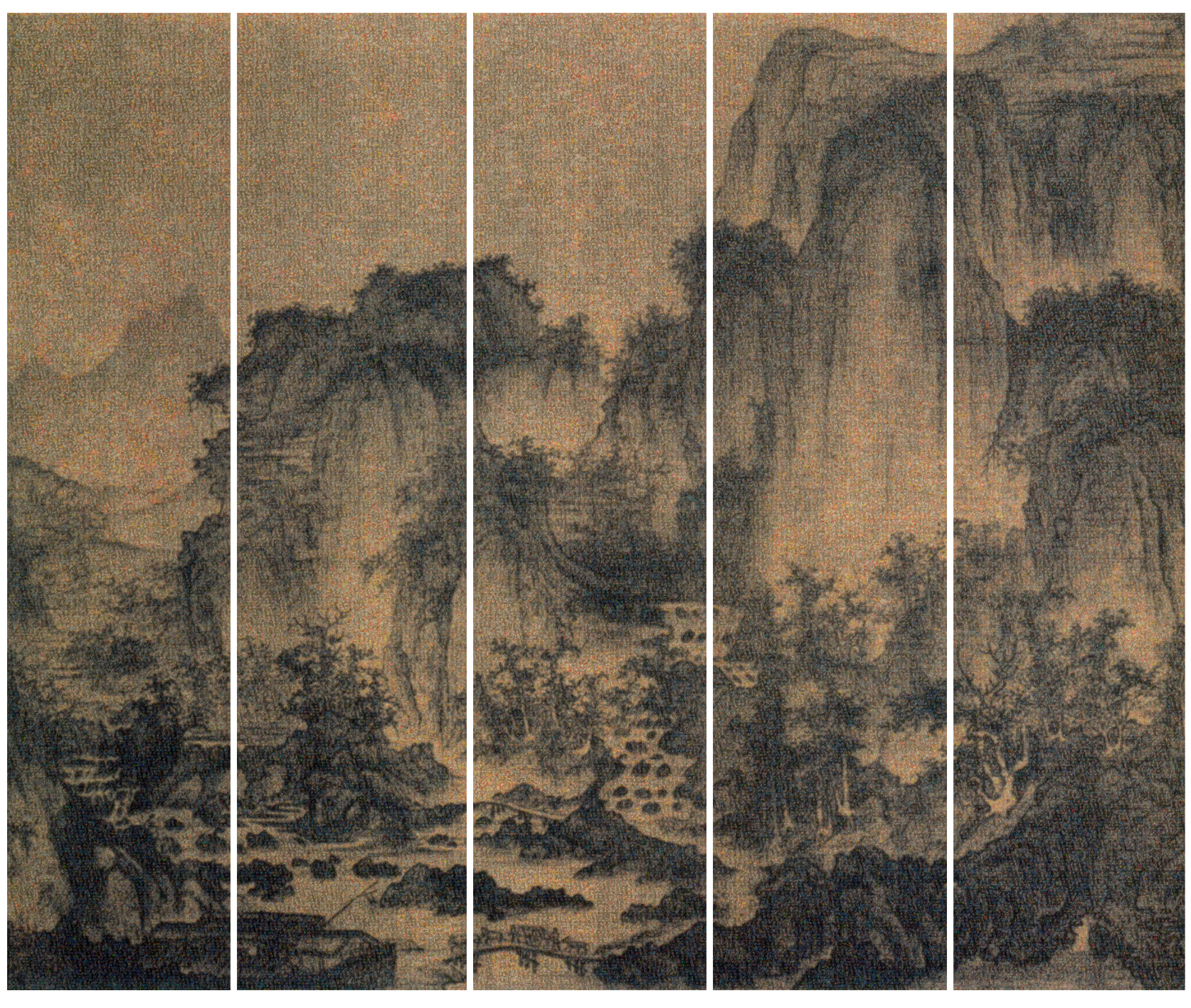 Guo Jian, The Landscape No.3,  inkjet pigment print, 5 panels,  2016, 200 x 235 cm (overall).