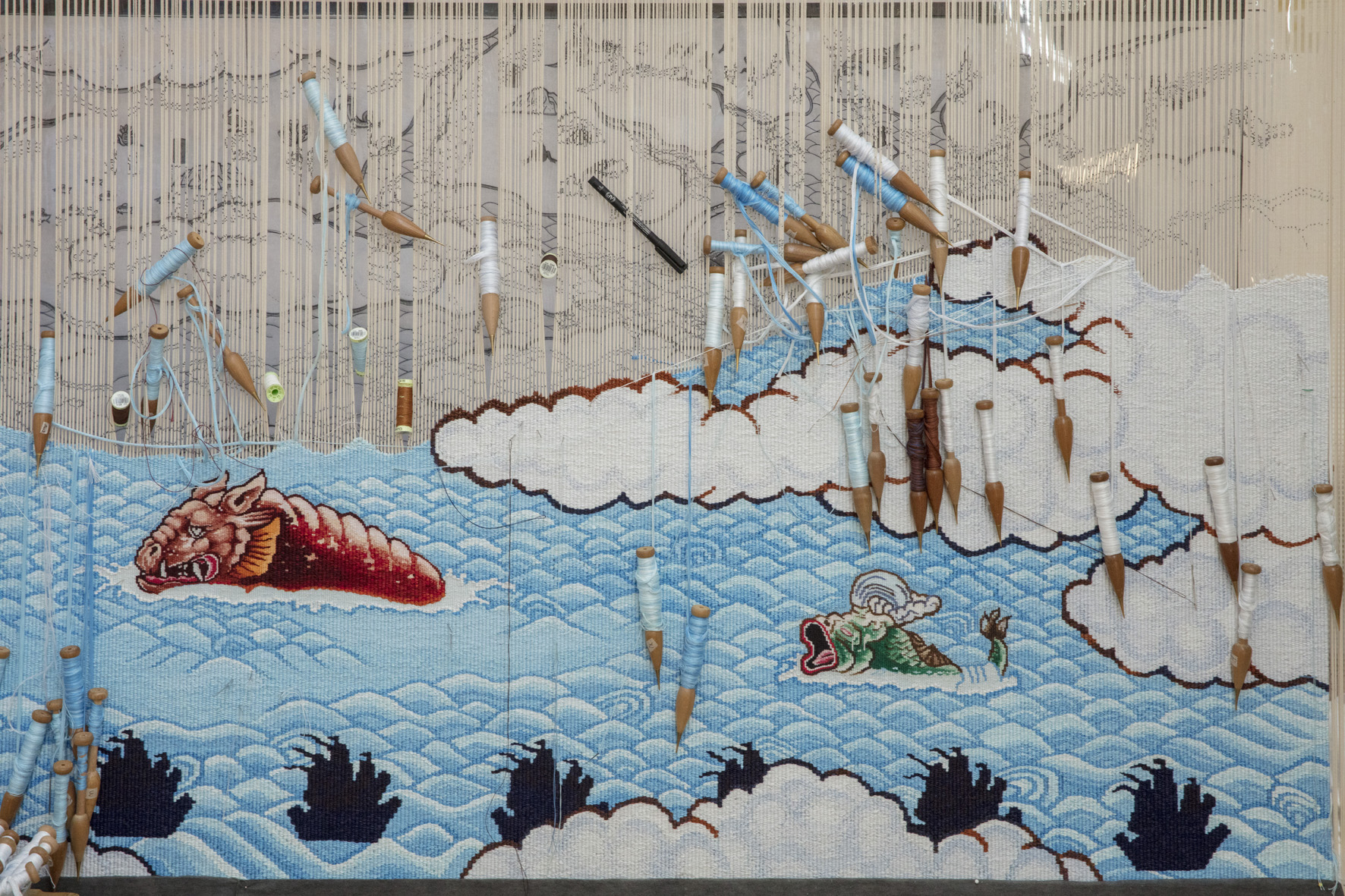 Guan Wei,  Treasure Hunt,  2017, woven by Chris Cochius, Pamela Joyce, Jennifer Sharpe & Cheryl Thornton, wool and cotton, 86.4 x 360cm, commissioned by the Australian Tapestry Workshop.