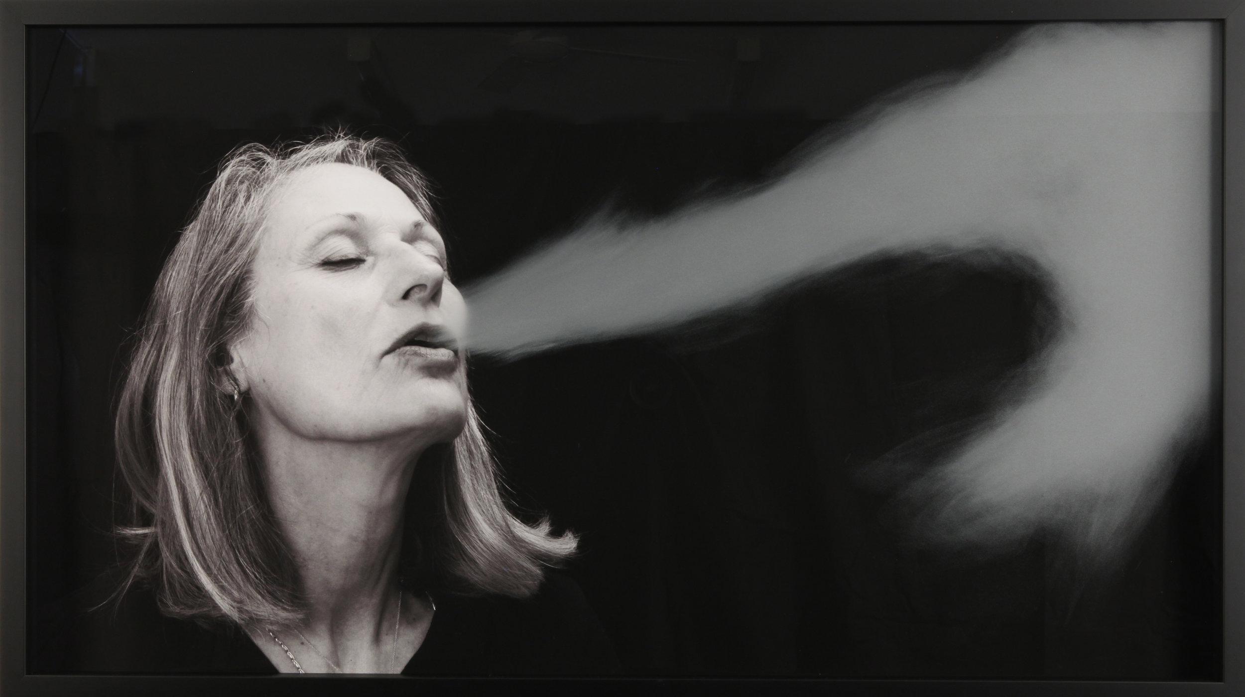 Julie Rrap,  Breath Stream , 2018,pigment ink-jet print, hand-ground glass, 66.0 x 116.0 cm
