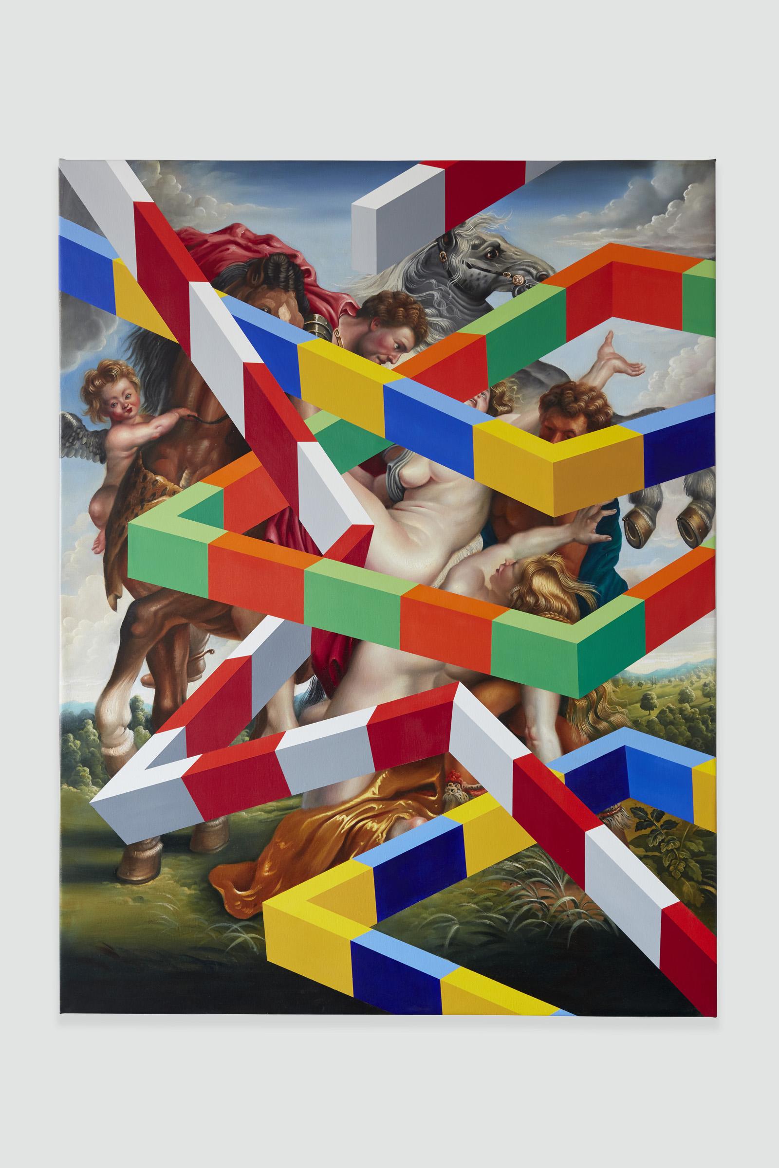 PETER DAVERINGTON   Wall Street  2018 Oil and acrylic on canvas 198 x 152 cm