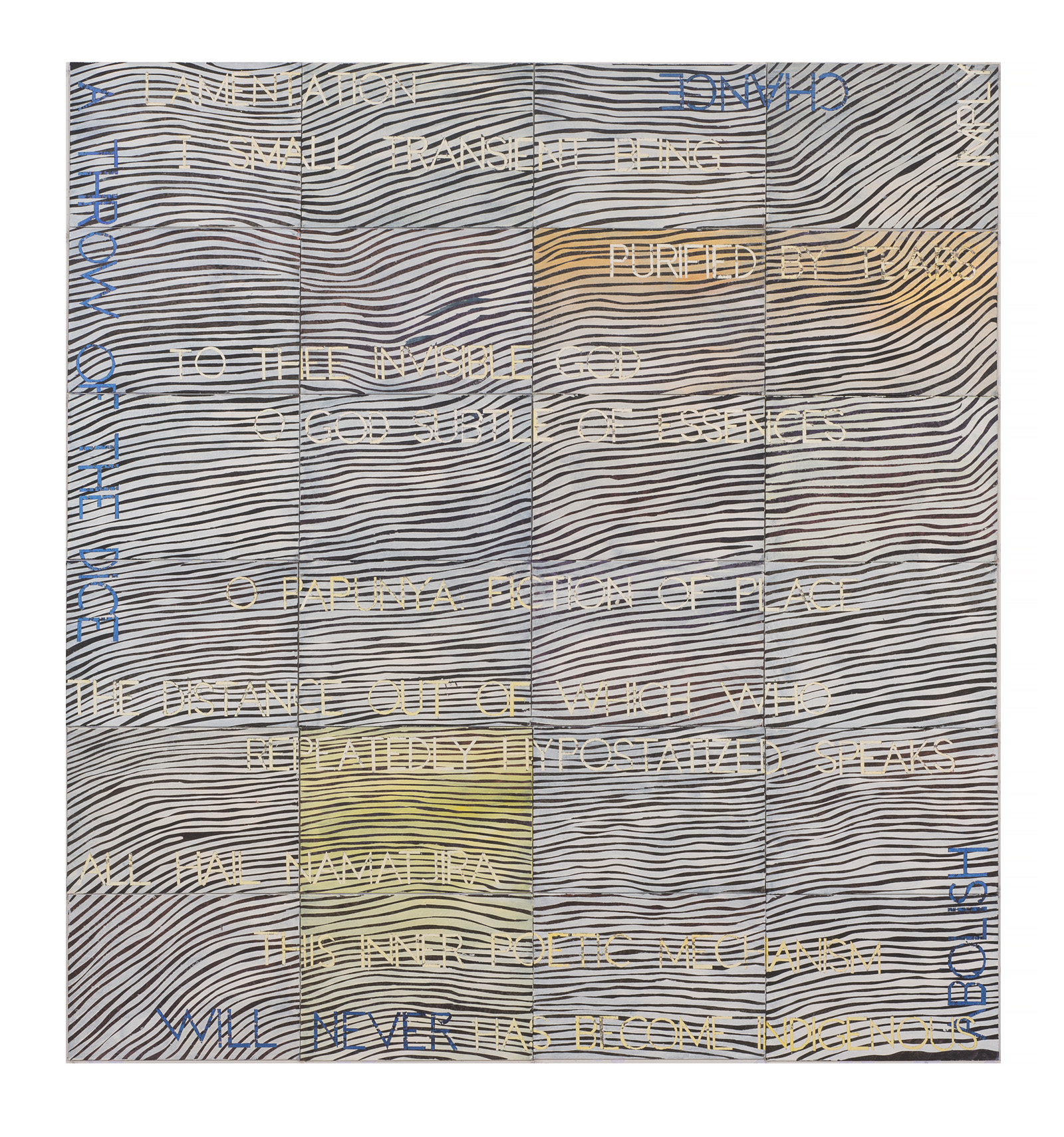 IMANTS TILLERS  Lamentation  2018 synthetic polymer paint, gouache on 24 canvas boards nos. 108071-108094 152.4 x 142.24 cm