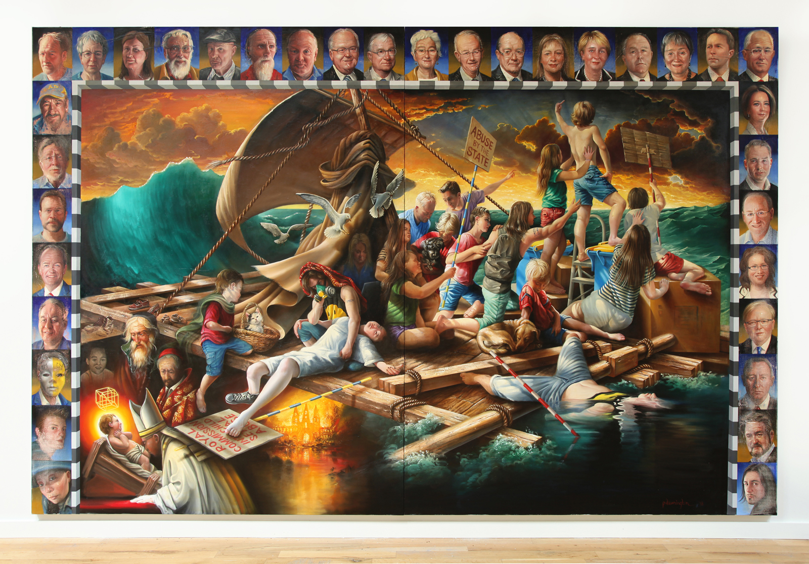 Peter Daverington,  Raft of the Clan,  oil and enamel on canvas, 260 x 397cm.