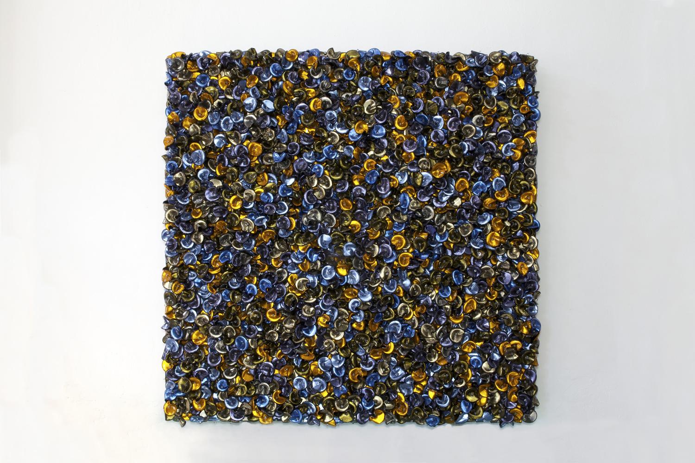 DANI MARTI   Fool's Paradise (Arrangement in Coastal Blue and Honey Sizzles)  2016 185 x 185 x 17 cm Customise corner cube reflectors, glass beads on powder coated aluminium, frame