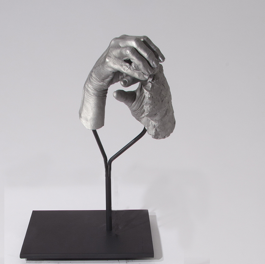 Julie RRAP,  One Hand Making the Other Hand , 2016, cast aluminium and powder coated steel, 50 x 36 x 25cm.