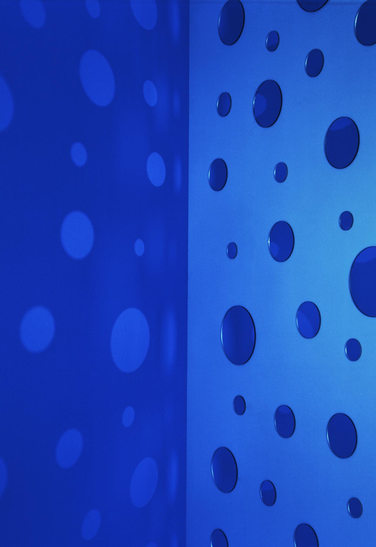 JACKY REDGATE   Light Throw (Mirrors) Fold - Blue and Light Blue  2018 Chromogenic photograph handprinted 185 x 127 cm