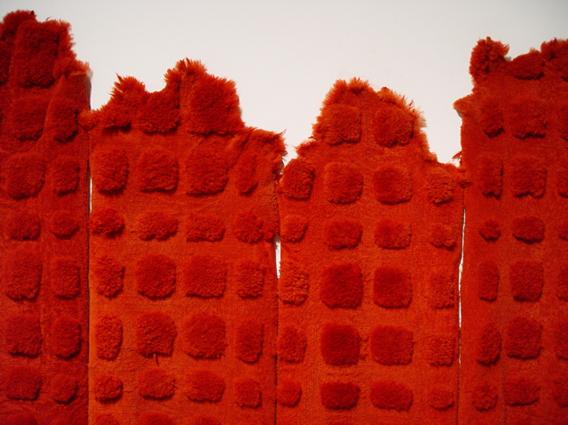 Image: Maria Fernanda Cardoso,  Sheep (Red)  (detail), 2002, dyed sheep skins, dimensions variable.
