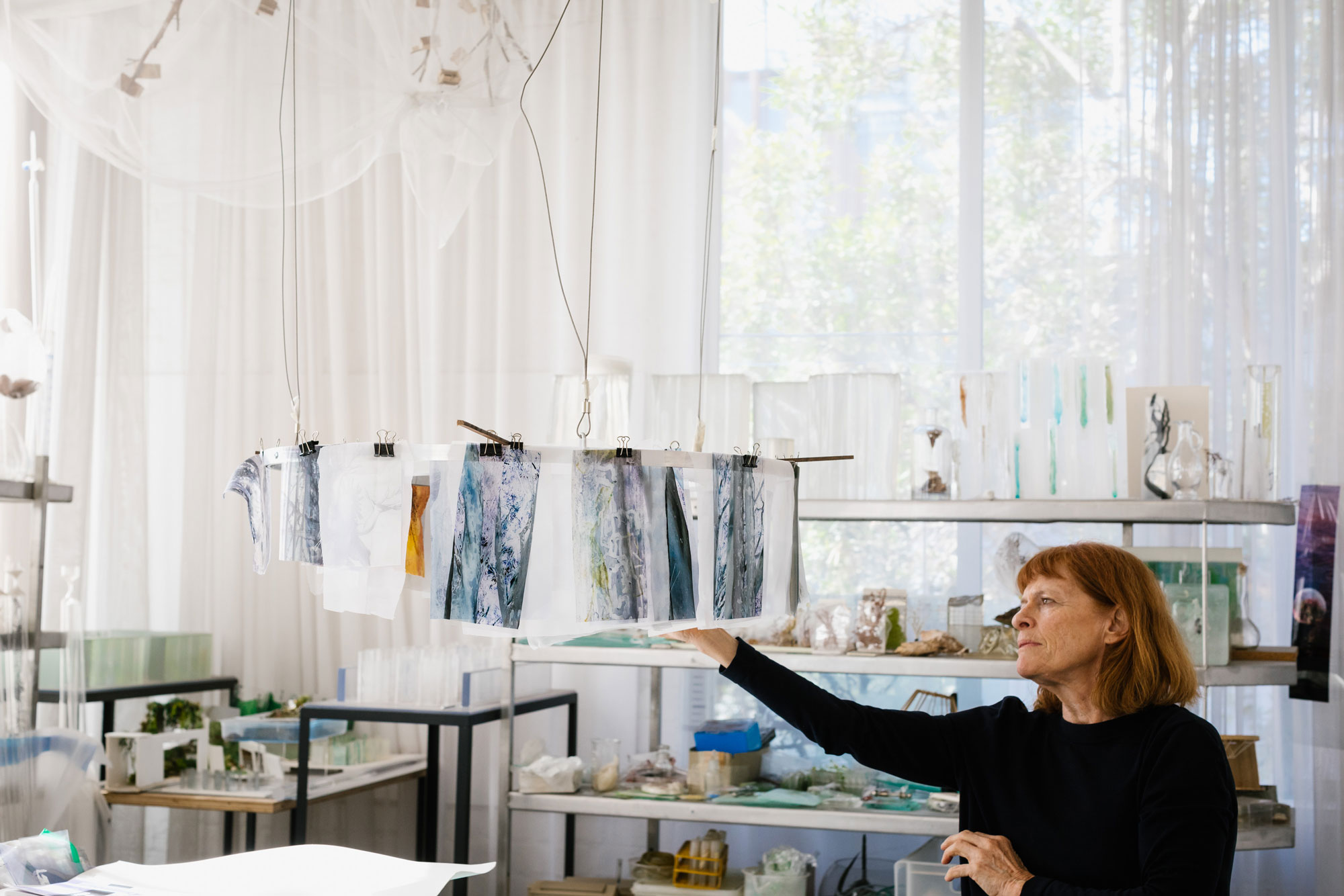 Janet Laurence   in her Sydney studio. Photograph: Jacqui Manning. Courtesy the Museum of Contemporary Art, Sydney.