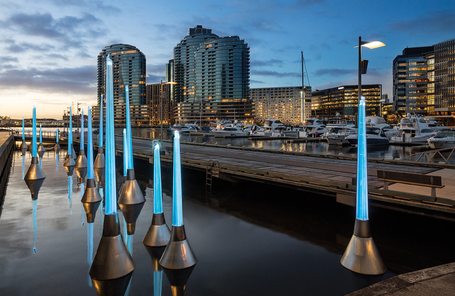 Tracy Sarroff, 'Light Buoys', 2017, Docklands, Melbourne. Photograph: John Gollings
