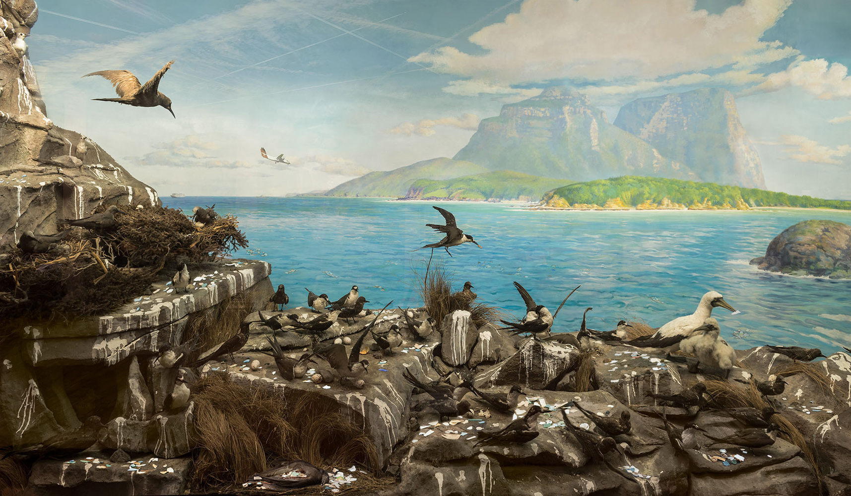 ANNE ZAHALKA   Sea Bird Colony, Admiralty Rocks looking to Mt Gower with calm seas at, Lord Howe Island  2019 Archival pigment ink on rag paper 80cm x 135cm Edition of 6  Source: Australian Museum