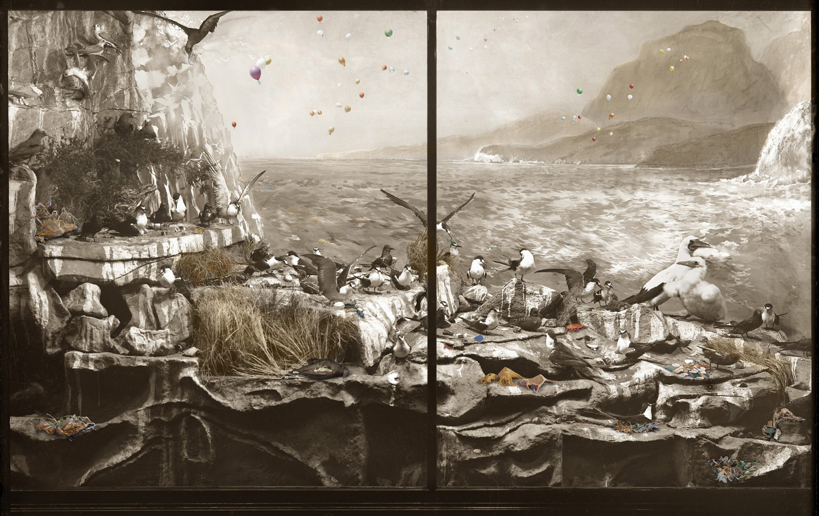 ANNE ZAHALKA    Sea Bird Colony, Admiralty Rocks with turbulent seas, Lord Howe Island   2019 archival pigment ink on rag paper  80 x 126 cm Edition of 6  Source: Australian Museum