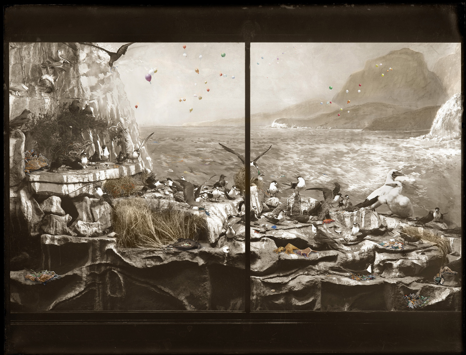 ANNE ZAHALKA    Sea Bird Colony, Admiralty Rocks with turbulent seas, Lord Howe Island   2019 Pigment ink on adhesive paper 275 x 375 cm Edition of 2  Source: Australian Museum