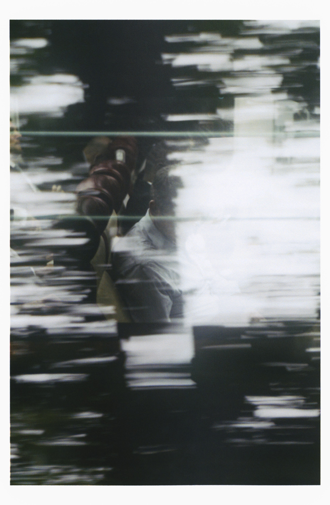 SAM SHMITH   Untitled (figure, glass, landscape)  2019 Pigment print on paper Sheet: 168 x 110 cm
