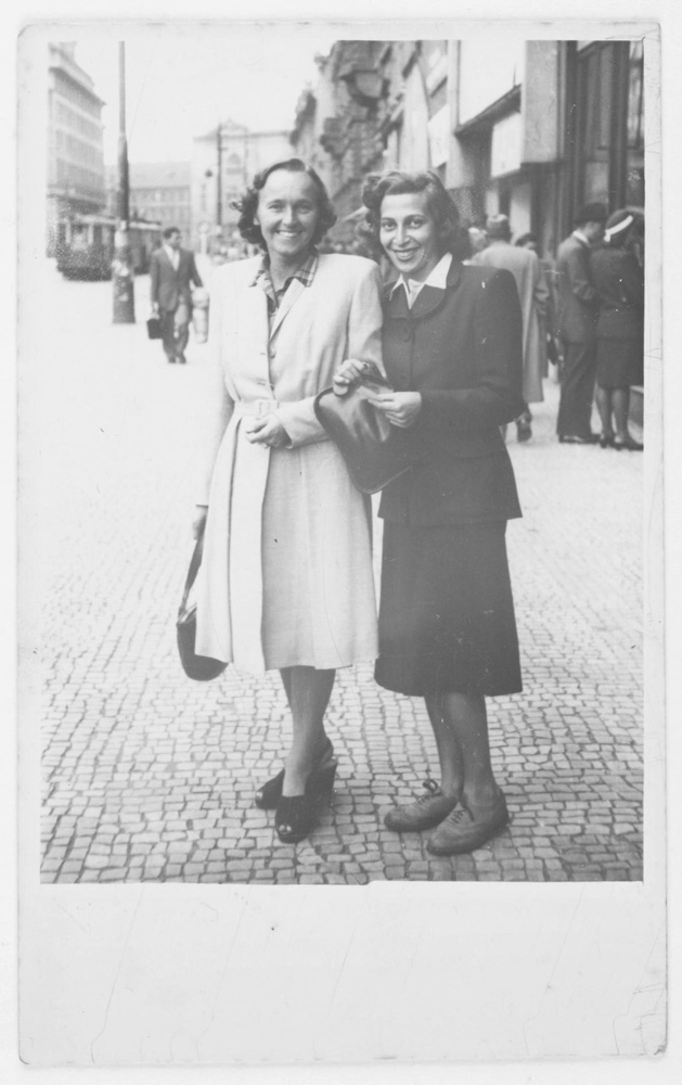 Anne Zahalka's mother, Hedy (right), and friend, Prague, Czechoslovakia