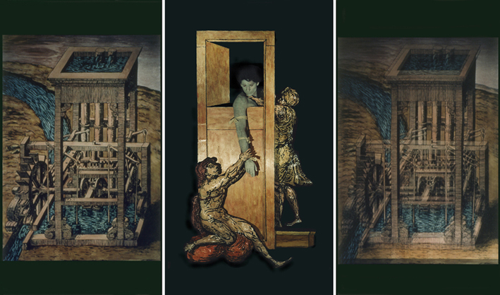 """ROSE FARRELL & GEORGE PARKIN   Pulleys Dislocations and Counterweights: """"Door""""  1997/98 Type C Photograph 225 x 136 cm"""