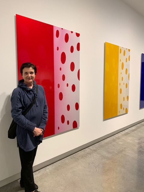 Jacky Redgate with her work, Buxton Contemporary, 2019.