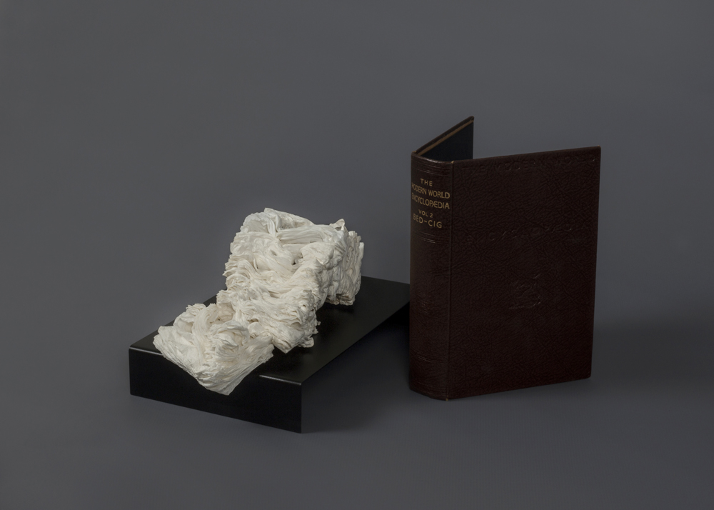 Cyrus Tang,  The Modern World Encyclopaedia Vol.2 , 2017, cremated book ashes, book cover, dimensions variable.