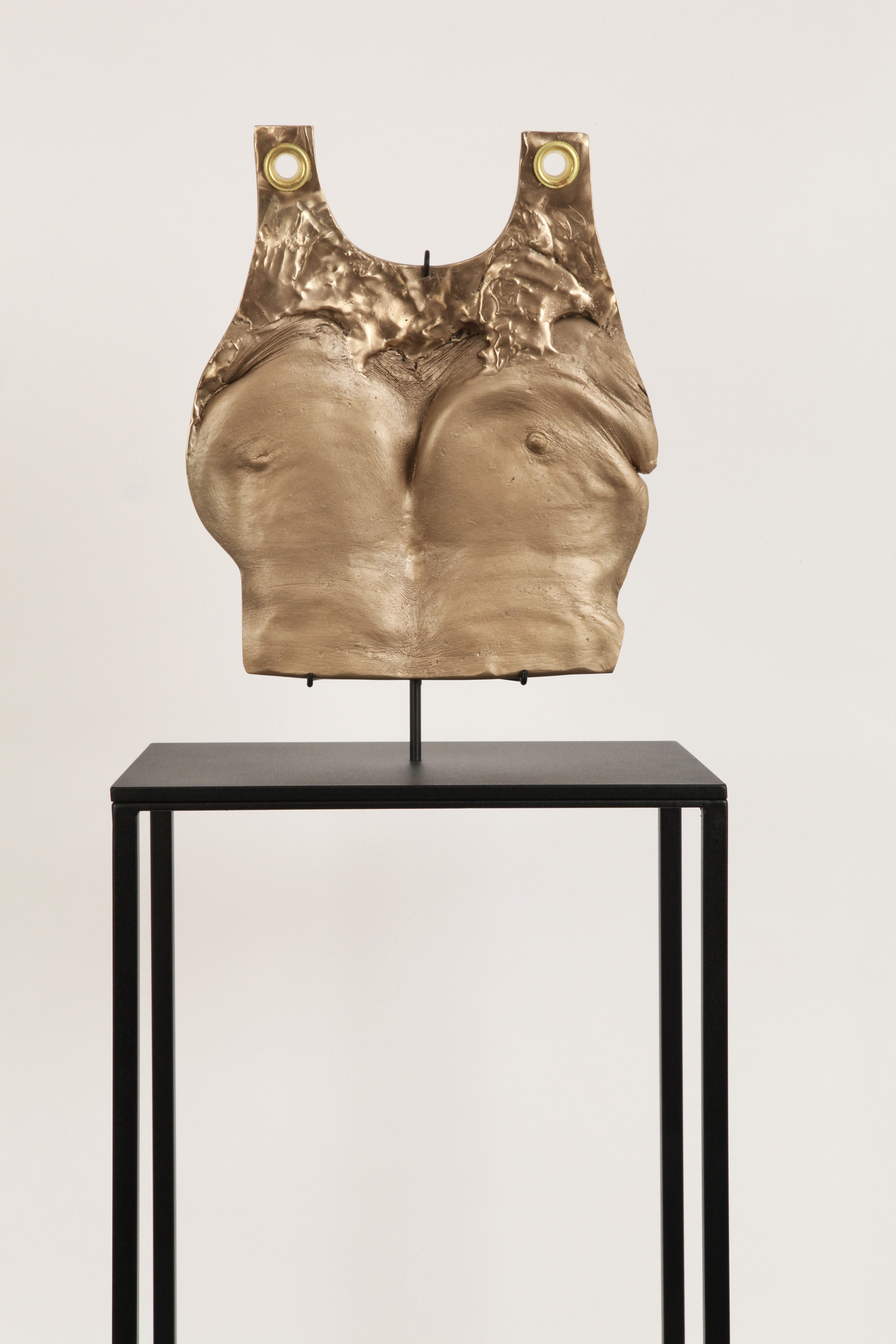 """JULIE RRAP  """"Beating your Breast"""" Plate  [detail] ,  2019 Bronze and steel, edition of 3  106 x 40 x 28.5 cm"""