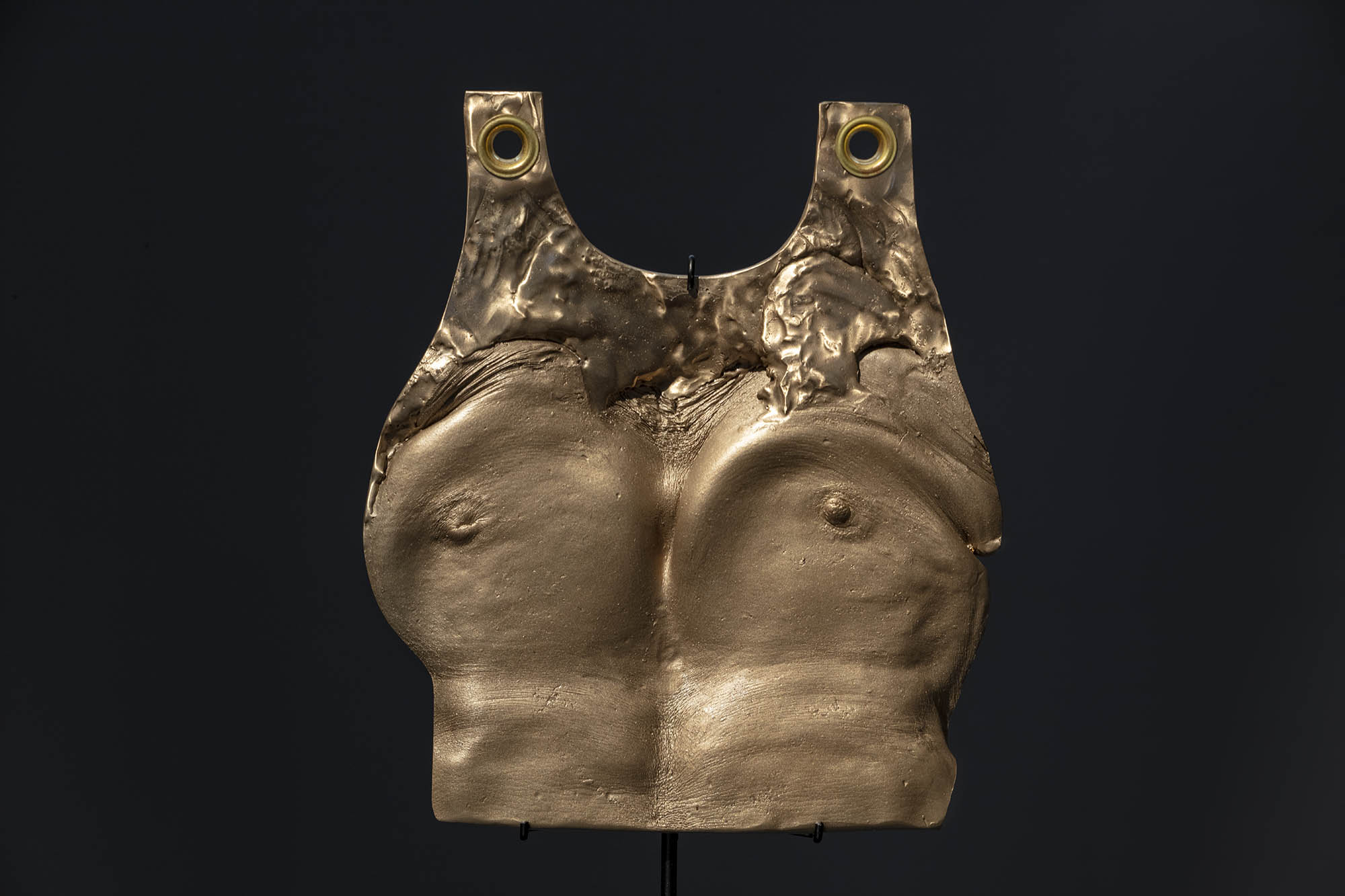 """JULIE RRAP  """"Beating your Breast"""" Plate  [detail] ,  2019 Bronze and steel, edition of 3  106 x 40 x 28.5 cm Photograph by John Gollings"""