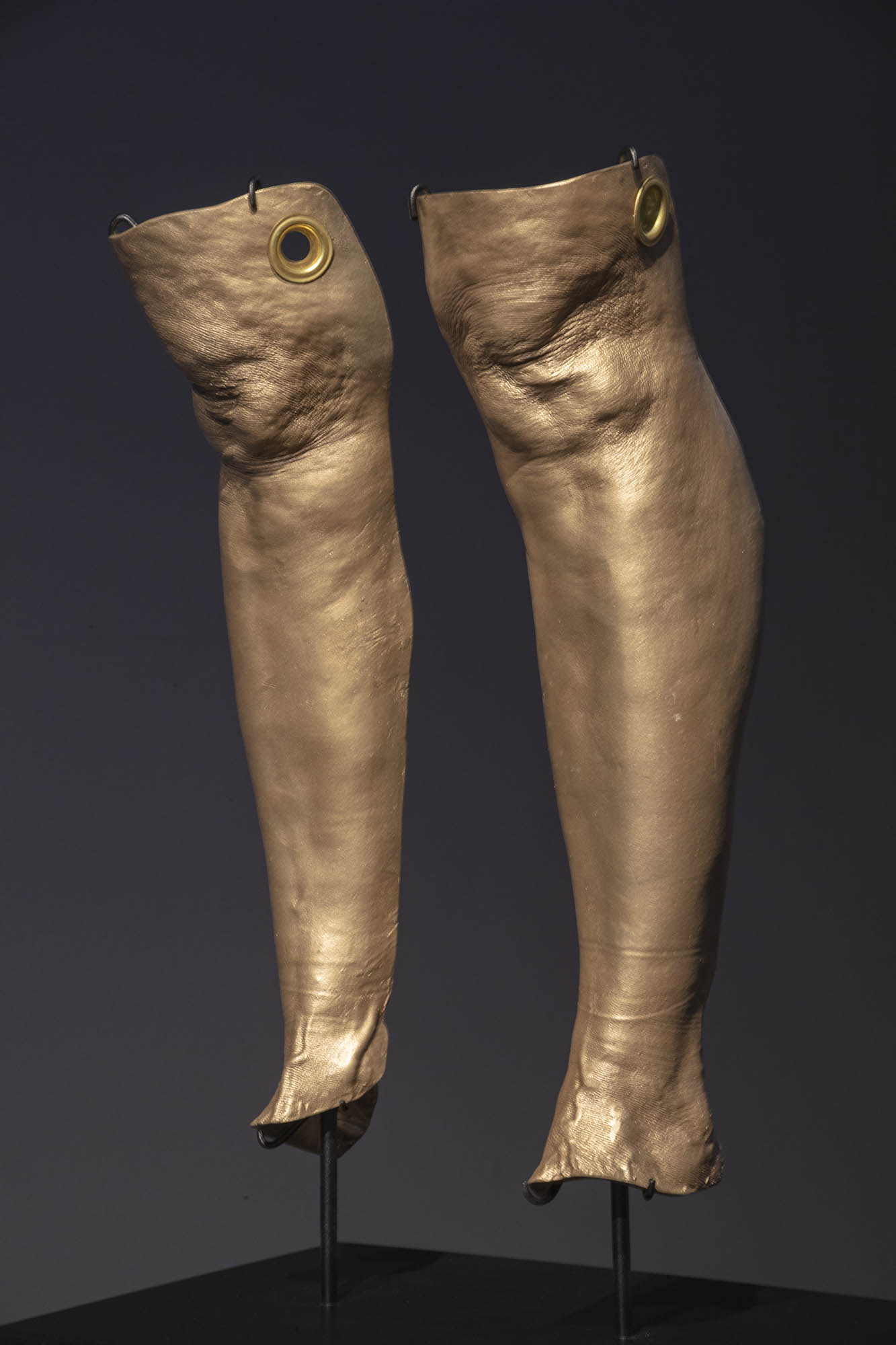 """JULIE RRAP  """"Knee Capped"""" Cleaves  [detail], 2019 Bronze and steel, edition of 3  98 x 40 x 28.5 cm Photograph by John Gollings"""
