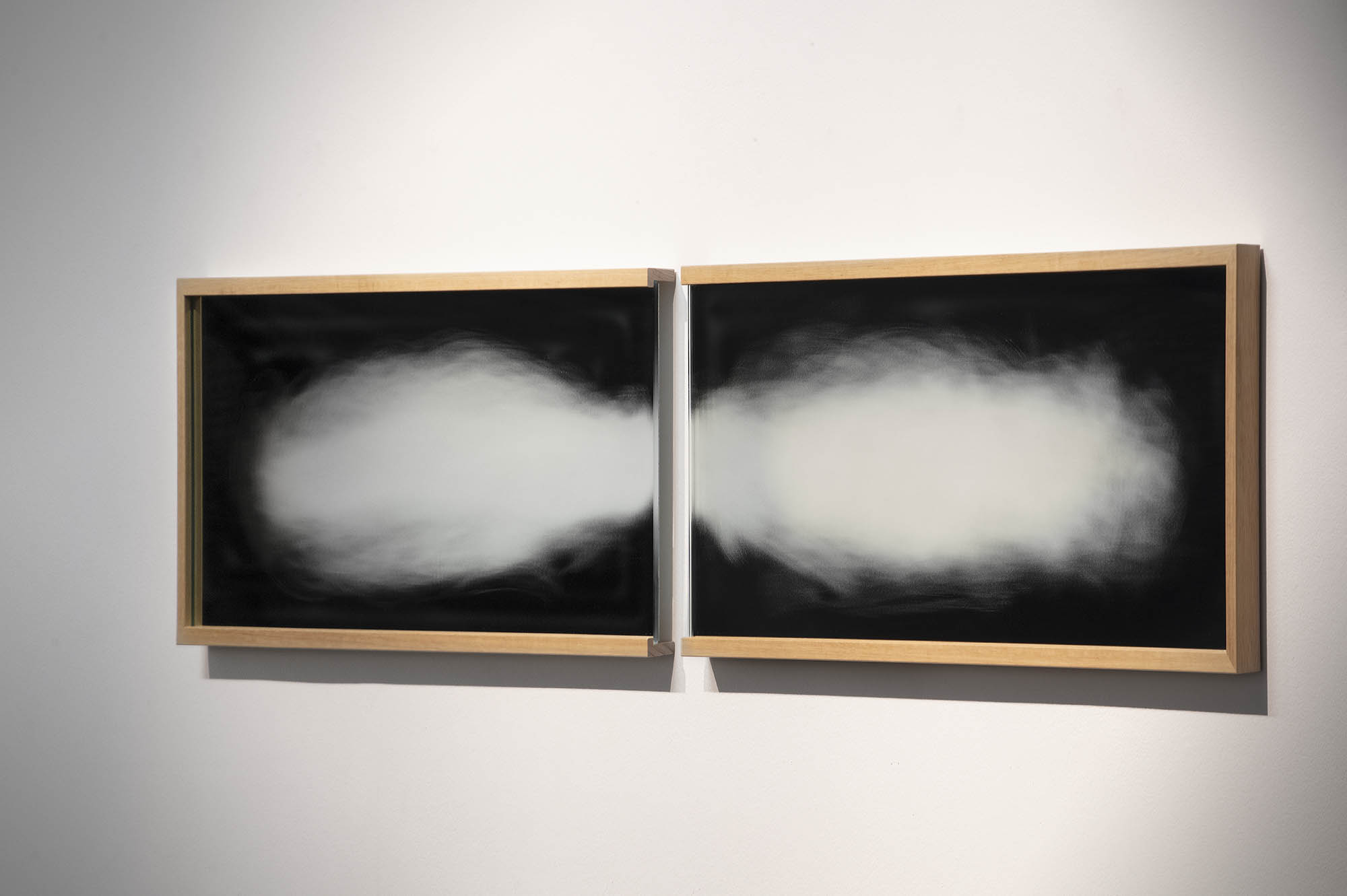 """JULIE RRAP  """"Signs of Life"""" (first and last),  2019 Hand ground mirror and wooden frame  33 x 186 cm Photograph by John Gollings"""
