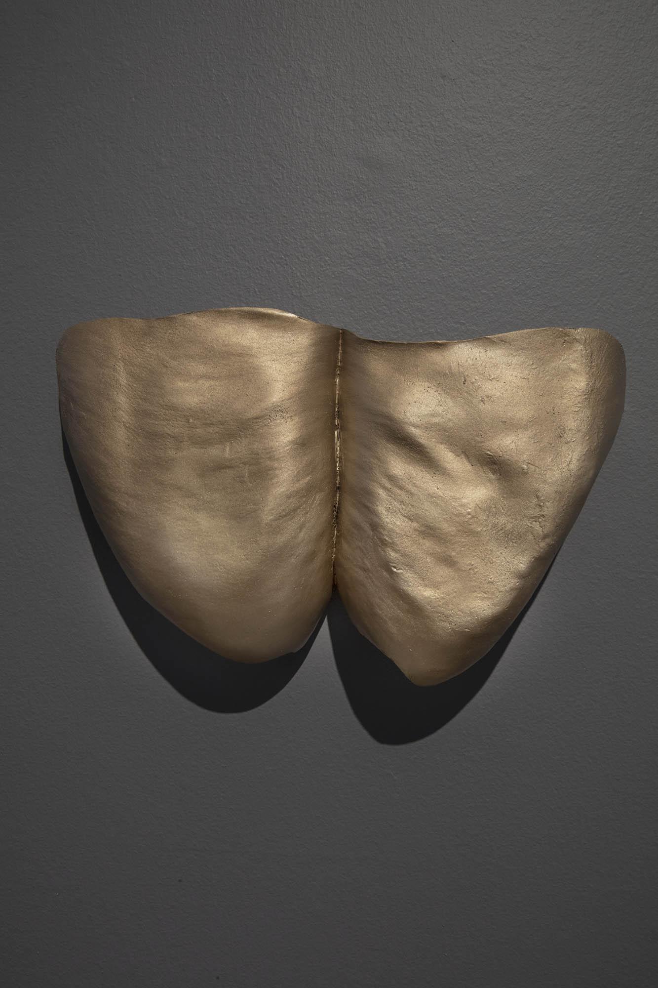 "JULIE RRAP  ""Thunder Thighs"" Shield,  2019 Bronze, edition of 3 28 x 46 x 8 cm Photograph by John Gollings"
