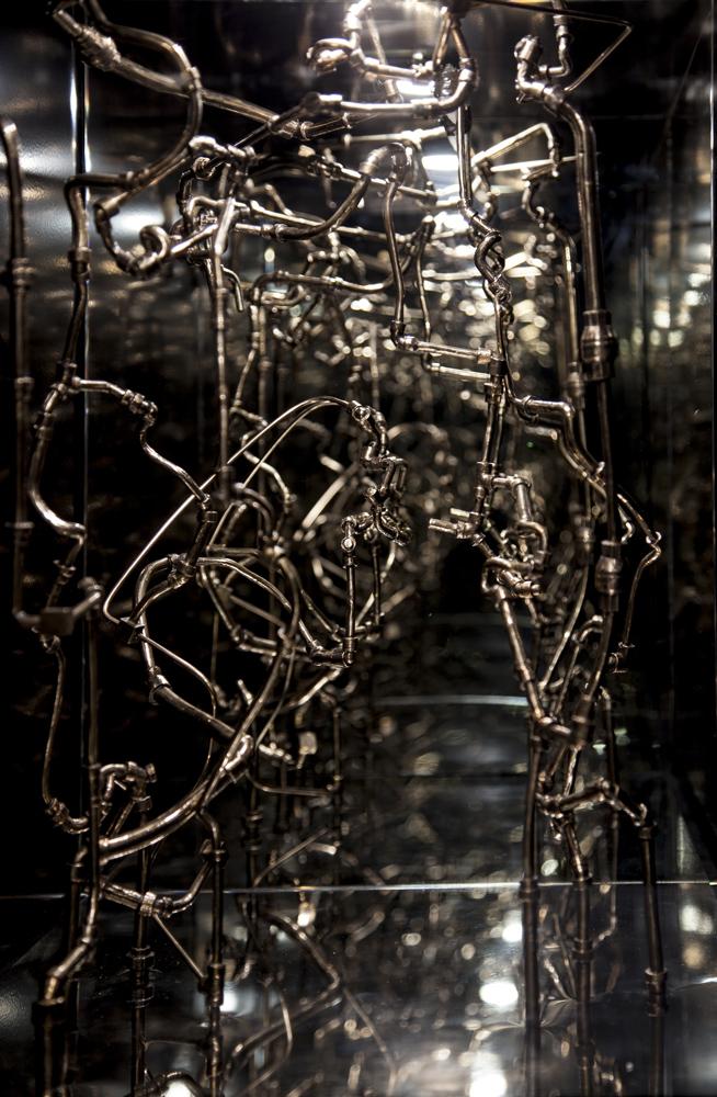 Cyrus Tang,  Topophilia 2 , 2019, bronze, Paula Tsui's cassette tape, crystal, mirror box, 44 x 43 x 61 cm