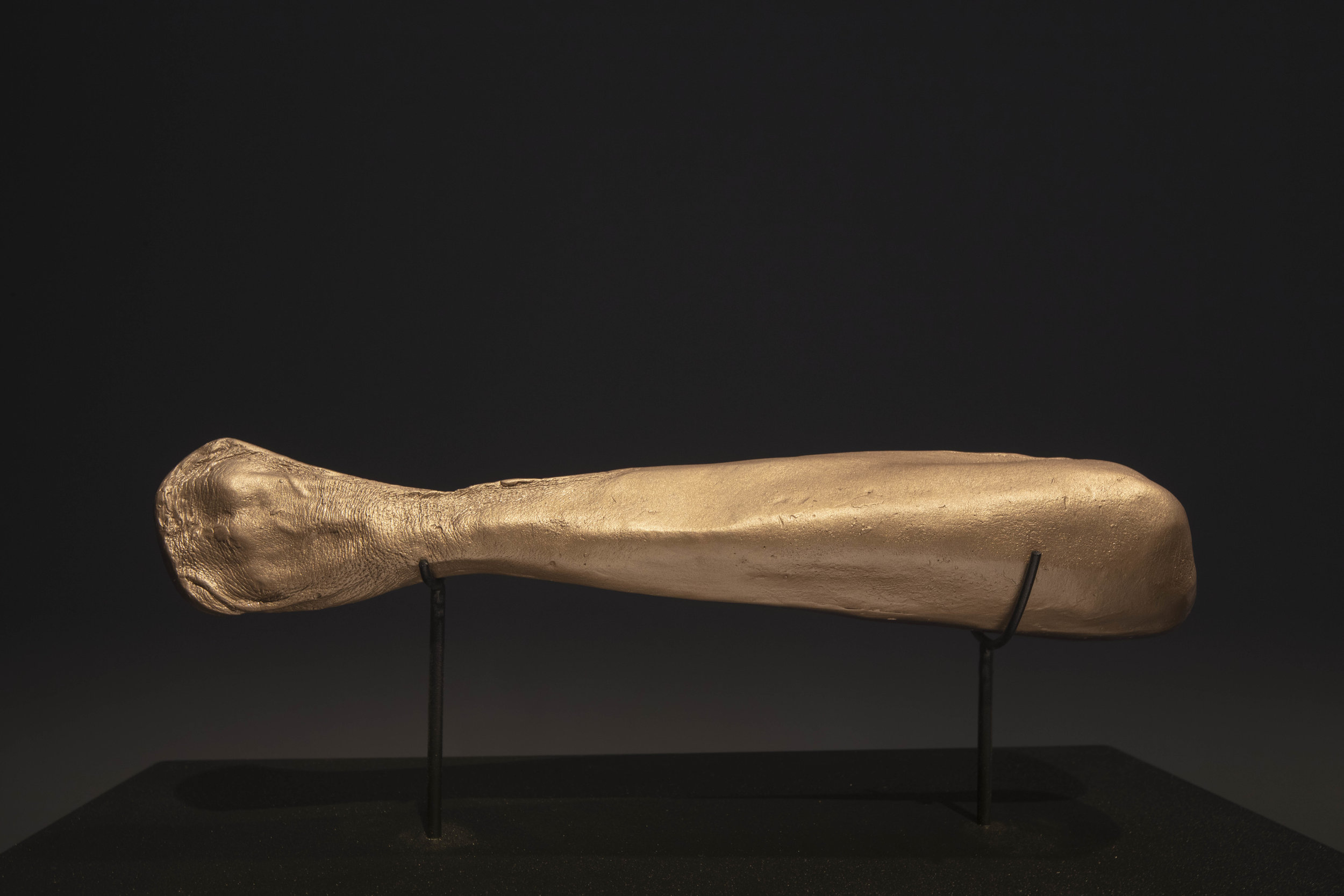 """JULIE RRAP  """"Elbowed"""" Club  [detail], 2019 Bronze and steel, edition of 3 106 x 47 x 28 cm   Photograph by John Gollings"""