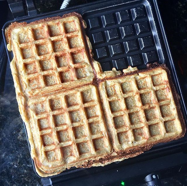 A common dessert in our house....three fresh waffles for my three boys. Made from green plantains, eggs, coconut oil, salt and spring water. That's all! #oliverwestonco #chefhannahspringer #paleowaffles #grainfree
